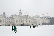 Fresh snow at Horse Guards Parade following the arrival of Storm Emma which is set to bring further widespread disruption to many parts of the UK on 2nd March 2018 in Central London, London, United Kingdom. Freezing weather conditions dubbed the Beast from the East brings snow and sub-zero temperatures to the UK.