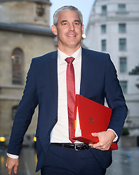 © Licensed to London News Pictures. 08/12/2018. London, UK. Brexit Secretary STEPHEN BARCLAY arrives at BBC Broadcasting House to appear on The Andrew Marr Show. Photo credit: Ben Cawthra/LNP
