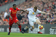 Duncan Watmore of Sunderland looks to go past Georginio Wijnaldum of Liverpool. Premier League match, Liverpool v Sunderland at the Anfield stadium in Liverpool, Merseyside on Saturday 26th November 2016.<br /> pic by Chris Stading, Andrew Orchard sports photography.