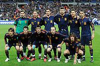 Fotball<br /> Frankrike v Spania<br /> Foto: DPPI/Digitalsport<br /> NORWAY ONLY<br /> <br /> FOOTBALL - FRIENDLY GAME 2010 - FRANCE v SPAIN - 03/03/2010<br /> <br /> TEAM SPAIN ( BACK ROW LEFT TO RIGHT: IKER CASILLAS / SERGIO RAMOS / SERGIO BUSQUETS / GERARD PIQUE / XABI ALONSO / ALVARO ARBELOA. FRONT ROW: DAVID SILVA / CESC FABREGAS / DAVID VILLA / ANDRES INIESTA / CARLES PUYOL )<br /> Lagbilde Spania