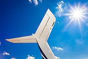 Underneath the horizontal stabilizer of a Bombardier Global Express jet at Kalamazoo International Airport in Kalamazoo, Michigan.