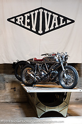 Custom bikes by Revival Motorcycles on Friday of the Handbuilt Motorcycle Show. Austin, TX. April 10, 2015.  Photography ©2015 Michael Lichter.