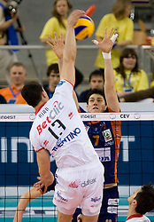 Ribeiro Riad Garcia Pires of Trentino vs Matevz Kamnik of ACH at 2nd Semifinal match of CEV Indesit Champions League FINAL FOUR tournament between ACH Volley, Bled, SLO and Trentino BetClic Volley, ITA, on May 1, 2010, at Arena Atlas, Lodz, Poland. Trentino defeated ACH 3-1. (Photo by Vid Ponikvar / Sportida)