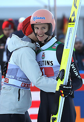 01.01.2020, Olympiaschanze, Garmisch Partenkirchen, GER, FIS Weltcup Skisprung, Vierschanzentournee, Garmisch Partenkirchen, im Bild Karl Geiger belegt beim zweiten Springen der, Vierschanzen Tournee 19, 20 in Garmisch den 2. Platz und freut sich riesig - Constantin Schmid umarmt ihn // during the Four Hills Tournament of FIS Ski Jumping World Cup at the Olympiaschanze in Garmisch Partenkirchen, Germany on 2020/01/01. EXPA Pictures © 2019, PhotoCredit: EXPA/ SM<br /> <br /> *****ATTENTION - OUT of GER*****