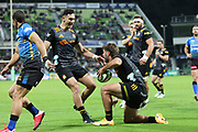 Chiefs Shaun Stevenson (left) and Alex Nankivell celebrate a try during the Round 1 Trans-Tasman Super Rugby match between the Western Force and the Waikato Chiefs at HBF Park in Perth, Saturday, May 15, 2021. (AAP Image/Trevor Collens) NO ARCHIVING, EDITORIAL USE ONLY