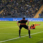 Fenerbahce's Dirk Kuyt (L) during their Turkish superleague soccer match Fenerbahce between CaykurRizespor at the Sukru Saracaoglu stadium in Istanbul Turkey on Saturday 08 November 2014. Photo by Aykut AKICI/TURKPIX