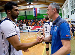 Israel Jose Dos Santos and Emanuele Fracascia of Salonit at last final volleyball match of 1.DOL Radenska Classic between OK ACH Volley and Salonit Anhovo, on April 21, 2009, in Arena SGS Radovljica, Slovenia. ACH Volley won the match 3:0 and became Slovenian Champion. (Photo by Vid Ponikvar / Sportida)