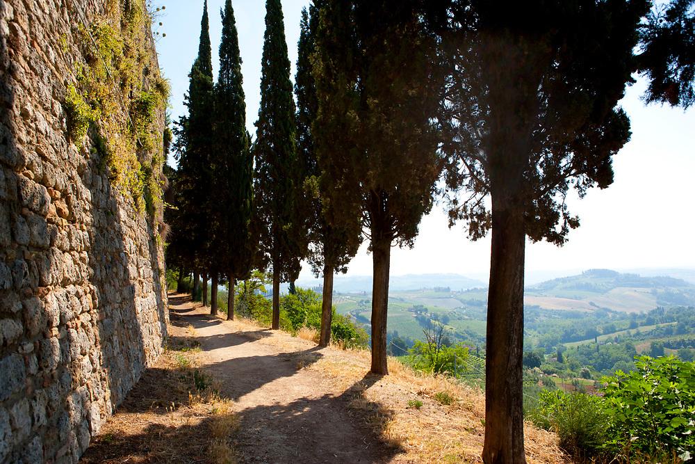 Exterior wall around San Gimignano in Tuscany, Italy