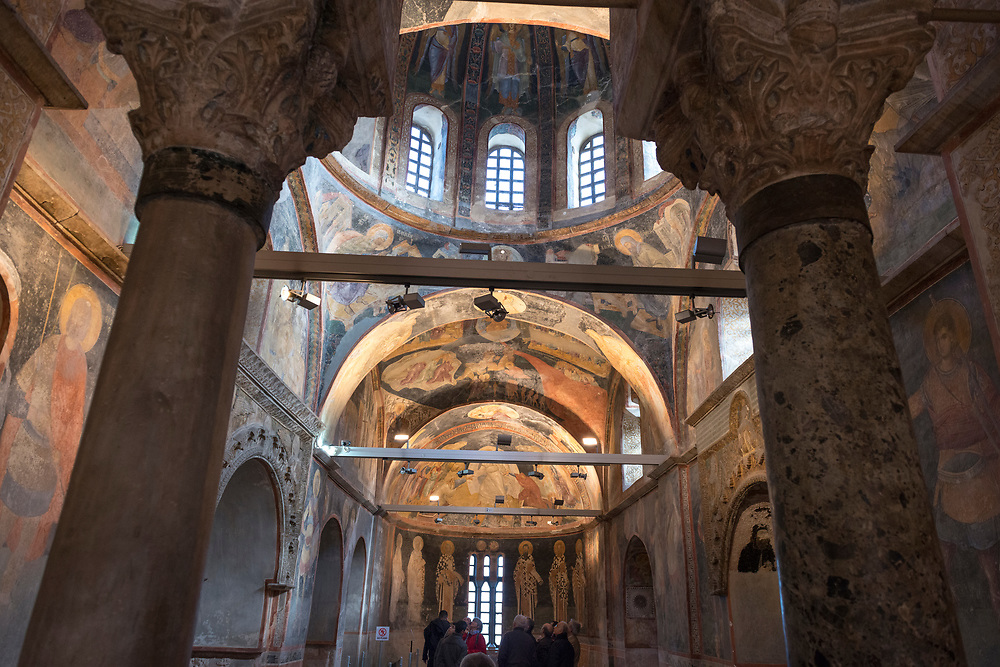 Tourists visit the Chora Kariye Church in Istanbul, Turkey. Built in AD 527–65, it is considered to be one of the most beautiful surviving examples of a Byzantine church.<br /> <br /> (January 2013)