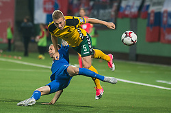 VILNIUS, June 11, 2017  Vaidas Slavickas (Top) of Lithuania competes during the FIFA World Cup European Qualifying Group F match between Lithuania and Slovakia at LFF Stadium in Vilnius, Lithuania on June 10, 2017. Slovakia won 2-1. (Credit Image: © Alfredas Pliadis/Xinhua via ZUMA Wire)