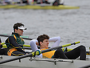 Putney. London,  Crew from the Norwick I.  relax before competing in the  2015  Head of the River Race. Championship Course Putney to Mortlake.  ENGLAND. <br /> <br /> Sunday   29/03/2015<br /> <br /> [Mandatory Credit; Intersport-images]