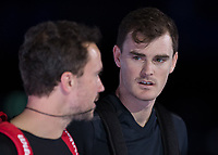 Tennis - 2017 Nitto ATP Finals at The O2 - Day Six<br /> <br /> Mens Doubles: Group Woodbridge/Woodforde: Lukasz Kubot (Poland) & Marcelo Melo (Brazil) Vs Jamie Murray (Great Britain) & Bruno Soares (Brazil) <br /> <br /> Jamie Murray (Great Britain) and Bruno Soares (Brazil) take to the court at the O2 Arena<br /> <br /> COLORSPORT/DANIEL BEARHAM