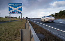 Lamberton, Scotland, UK. 15 Feb 2021. View of Scottish border on A1 just north of Berwick-upon-Tweed. Scotland's First Minister Nicola Sturgeon has threatened to close the border between Scotland and England because English quarantine rules which come into force today are less strict than those in Scotland.  Iain Masterton/Alamy Live News
