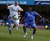 Photo: Olly Greenwood.<br />Gillingham v Huddersfield Town. Coca Cola League 1. 08/04/2006. Huddersfeild's Danny Adams and Gillingham's Brent Sancho battle.