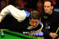 Matthew Stevens of Wales during his match v Ian Burns.  Bet Victor Welsh Open snooker at the Newport centre in Newport, South Wales on Monday 24th Feb 2014.<br /> pic by Andrew Orchard, Andrew Orchard sports photography.