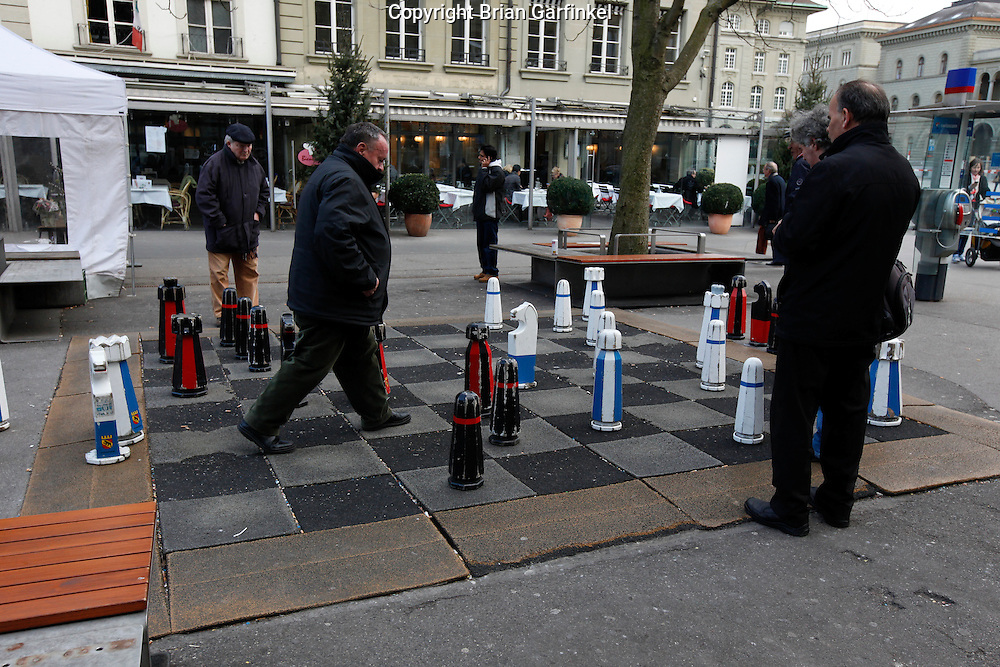 Men play chess in Berne, Switzerland on March 6th 2012. (Photo By Brian Garfinkel)