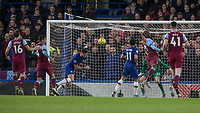 Football - 2019 / 2020 Premier League - Chelsea vs. West Ham United<br /> <br /> Olivier Giroud (Chelsea FC) misses the cross as it gets fired in across the West Ham box at Stamford Bridge <br /> <br /> COLORSPORT/DANIEL BEARHAM