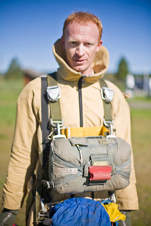 Lane Lamoreaux, 27, of Flagstaff, Arizona, is a second-year smokejumper at the McCall, ID base and a former United States Marine.