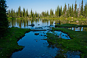 Hike to Mt. Aeneas with Sam Barker and Sugar  /  View of Picnic Lake in Jewel Basin, part of the Flathead National Forest in NW Montana.