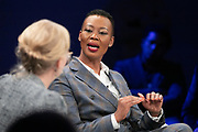 Stella Ndabeni-Abrahams, Minister of Communications, Telecommunications and Postal Services of South Africa speaking during the session From Start-Ups to Scale-Ups at the World Forum World Economic Forum on Africa 2019. Copyright by World Economic Forum / Greg Beadle