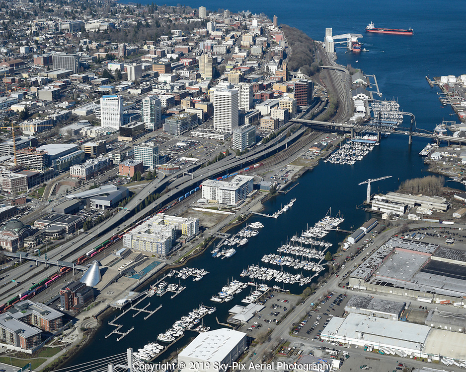 Aerial view of the Thea Foss Waterway between Downtown Tacoma and the Port Of Tacoma.