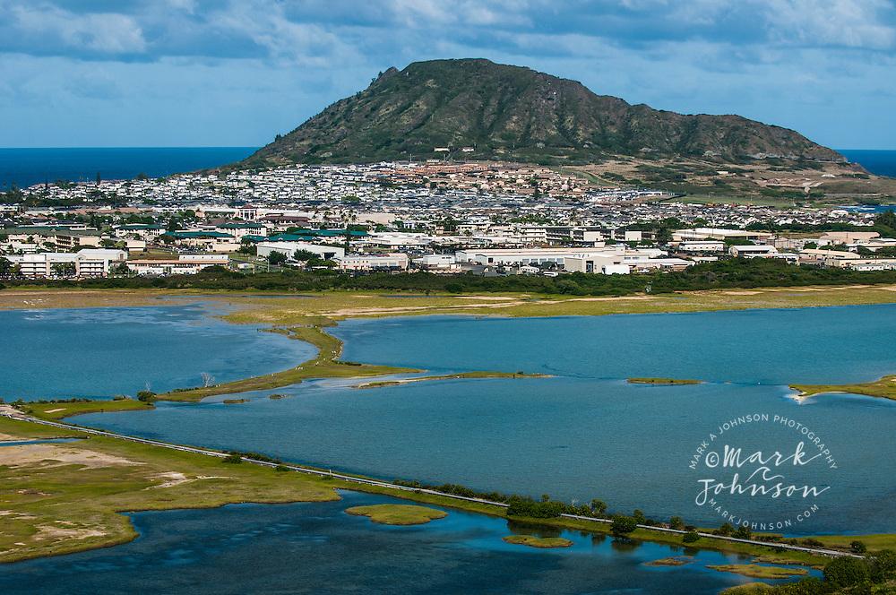Kaneohe Marine Base Hawaii, Bird refuge in foreground, Kaneohe Bay, Oahu, Hawaii