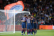 Edinson Roberto Paulo Cavani Gomez (psg) (El Matador) (El Botija) (Florestan) scored it penalty and celebrated it with Layvin Kurzawa (psg), Adrien Rabiot (psg), Javier Matias Pastore (psg), Neymar da Silva Santos Junior - Neymar Jr (PSG), Thiago Silva (PSG) during the French championship L1 football match between Paris Saint-Germain (PSG) and Toulouse Football Club, on August 20, 2017, at Parc des Princes, in Paris, France - Photo Stephane Allaman / ProSportsImages / DPPI