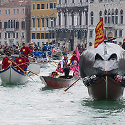 """VENICE, ITALY - FEBRUARY 16:  The """"Pantegana""""  (Big Rat) sails on the Gran Canal for the traditional regatta which officially opens the Carnival  on February 16, 2014 in Venice, Italy. The 2014 Carnival of Venice will run from February 15 to March 4 and includes a program of gala dinners, parades, dances, masked balls and music events.  (Photo by Marco Secchi/Getty Images)"""