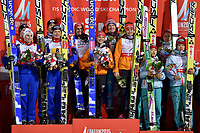 Hopp<br /> VM 2015 / FIS World Championships<br /> Falun Sverige<br /> 22.02.2015<br /> Foto: Gepa/Digitalsport<br /> NORWAY ONLY<br /> <br /> FIS Nordic World Ski Championships, mixed team event, normal hill, flower ceremony. Image shows Line Jahr, Maren Lundby, Anders Bardal, Rune Velta (NOR), Richard Freitag, Katharina Althaus, Carina Vogt, Severin Freund (GER), Sara Takanashi, Yuki Ito, Noriaki Kasai and Taku Takeuchi (JPN).