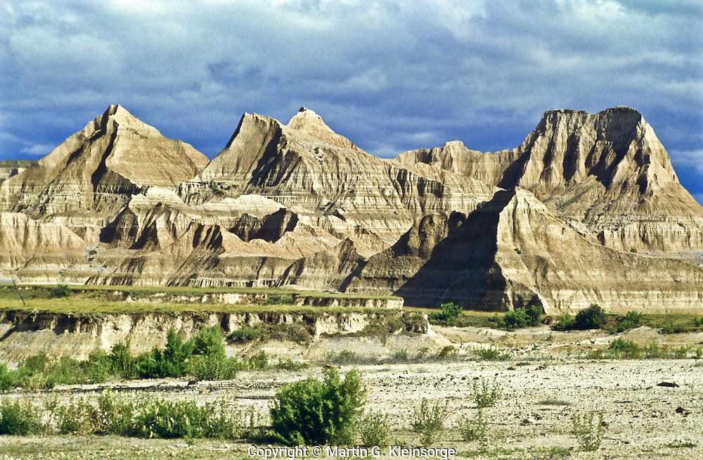 Eroded landscape of the Stronghold Unit.  Badlands National Park, South Dakota.
