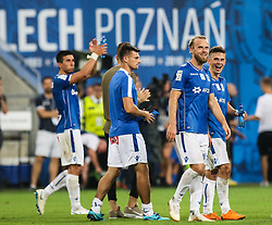 August 2, 2018 - Poznan, Poland - Christian Gytkjaer and Volodymyr Kostevych (Lech), celebration after the UEFA Europa League Second Qualifying Round: 2st leg match between Lech Poznan and Shakhtior Soligorsk at Stadion Miejski in Poznan, Poland, on 2 August 2018. (Credit Image: © Foto Olimpik/NurPhoto via ZUMA Press)