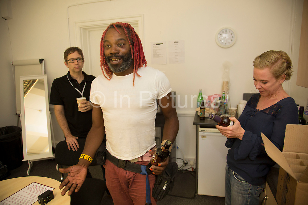 Krtistin Hersh having fun with tour manager Mitch backstage. Throwing Muses at the Islington Assembly Hall, London, UK. Throwing Muses are an alternative rock band founded in 1980. The group was originally fronted by two lead singers, Kristin Hersh, and Tanya Donelly. Known for performing music with shifting tempos, creative chord progressions, unorthodox song structures, and surreal lyrics, the group was set apart from other contemporary acts by Hersh's stark, writing style, David Narcizo's unusual drumming techniques almost totally without cymbals and Bernard Georges' driving baselines.