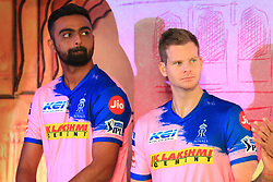 March 22, 2019 - Jaipur, Rajasthan, India - Rajasthan Royals players  Jaydev Unadkat and Steve Smith  during the team jersey unveiled ceremony ahead the IPL 2019 matches  in Jaipur, Rajasthan, India  on March 22,2019. (Credit Image: © Vishal Bhatnagar/NurPhoto via ZUMA Press)