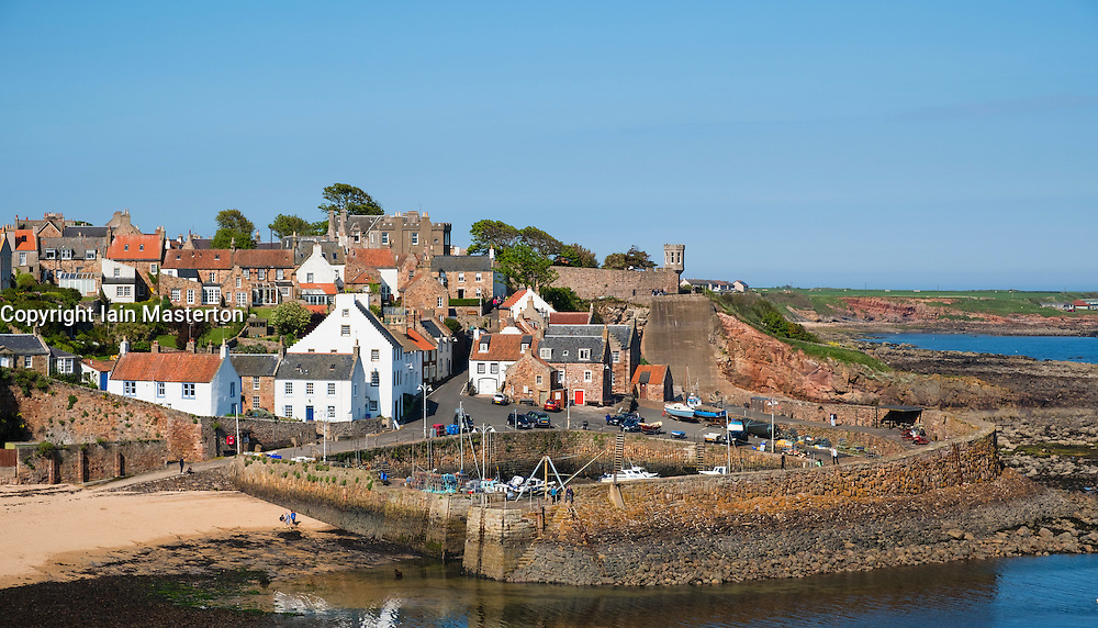 View of historic harbour at Crail in the East Neuk of Fife in Scotland United Kingdom