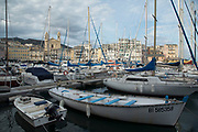Evening view over the marina in the port on 16th September 2017 in Bastia, Corsica, France. Bastia is a French commune in the Haute-Corse department of France located in the north-east of the island of Corsica at the base of Cap Corse. Bastia is the principal port and commercial town of the island. The inhabitants of Bastia are known as Bastiais or Bastiaises.