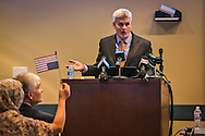 Republican Sen. Bill  Cassidy town hall  speaks over proteters meeting in Metairie, LA at the Eastbank Regional Library Feb. 22, 2017.