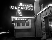 "ackroyd_02064-5. ""Oregon Sports Service. Night shots of buildings for score card ads. March 7, 1950"" (Benny's Olympic Room, 3530 N. Vancouver, currently LV's restaurant and sports bar, in the same building.)"