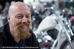 "Bill Dodge at his ""Blings Cycles"" custom shop after a long day at Daytona Beach Bike Week 2015. FL, USA. Monday March 9, 2015.  Photography ©2015 Michael Lichter."