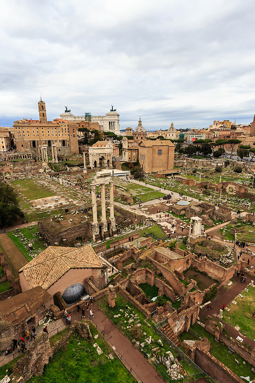 Forum Romanum in Rome, Italy. For centuries the Forum was the teeming heart of ancient Rome. Here triumphal processions, elections, public speeches, criminal trials and commercial affairs happened.