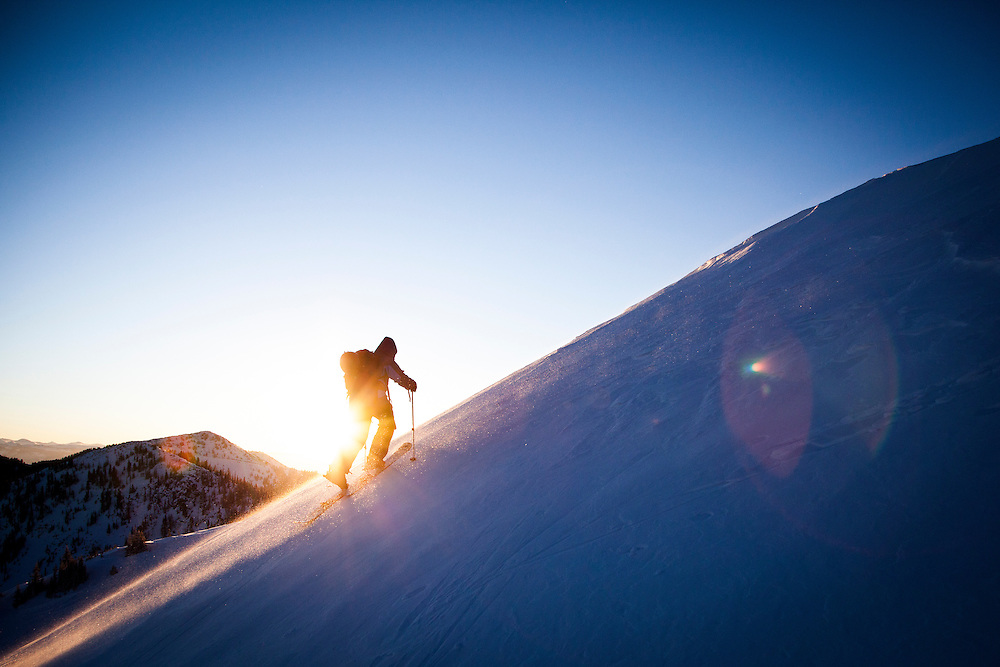 Winter sunrise on the way to the summit of Patsy Marley, Little Cottonwood  Canyon back country, Utah.