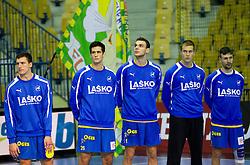 Nemanja Zelenovic of Celje, Igor Zabic of Celje, Borut Mackovsek of Celje, Urh Kastelic of Celje and Mate Lekai of Celje during handball match between RK Celje Pivovarna Lasko and IK Savehof (SWE) in 3rd Round of Group B of EHF Champions League 2012/13 on October 13, 2012 in Arena Zlatorog, Celje, Slovenia. (Photo By Vid Ponikvar / Sportida)