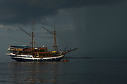 Dive boat Sea Safari V11<br /> West Nusa Tenggara <br /> Lesser Sunda Islands<br /> Indonesia<br /> A Pinisi type boat (Traditional Indonesian Motor Sailer)