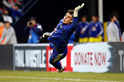 May 15, 2019 - Foxborough, MA, U.S. - FOXBOROUGH, MA - MAY 15: Chelsea FC goalkeeper Kepa Arrizabalaga (1) dives for a save in warm up before the Final Whistle on Hate match between the New England Revolution and Chelsea Football Club on May 15, 2019, at Gillette Stadium in Foxborough, Massachusetts. (Photo by Fred Kfoury III/Icon Sportswire) (Credit Image: © Fred Kfoury Iii/Icon SMI via ZUMA Press)