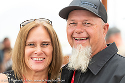 Custom bike builder Tim Scates with his wife Tina at the Flying Piston Builder Breakfast at the Buffalo Chip during the 78th annual Sturgis Motorcycle Rally. Sturgis, SD. USA. Sunday August 5, 2018. Photography ©2018 Michael Lichter.