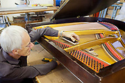 Piano maker man tuning a piano. John Broadwood and sons piano makers by Royal appointment, they are the oldest established piano maker in the World. Workshop and piano museum, Finchcocks, Kent, UK.