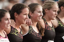 Falmouth Road Race: The Cochary High School Mile, Girls, competitors pose for group picture