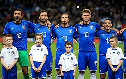 Italy's Gianluigi Buffon (left), Marco Parolo (second left), Mattia De Sciglio (centre), Daniele Rugani (second right) and Alessandro Florenzi (right) wear the number thirteen shirt before kick-off as a tribute to Davide Astori who died recently