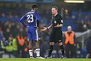 Referee Kevin Friend talks to Michy Batshuayi of Chelsea after the game has finished. The Emirates FA cup, 3rd round match, Chelsea v Peterborough Utd at Stamford Bridge in London on Sunday 8th January 2017.<br /> pic by John Patrick Fletcher, Andrew Orchard sports photography.