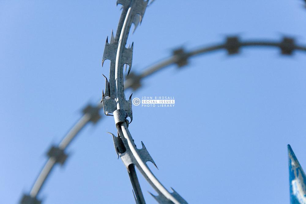 Close up of razor wire,