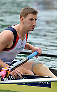 Bled, SLOVENIA, Adaptive Rowing, GBR LTAMi4+ Ryan CHAMBERLAIN, waits at the start in his heat,  FISA World Cup, Bled venue, Lake Bled. Friday  28/05/2010  [Mandatory Credit Peter Spurrier]